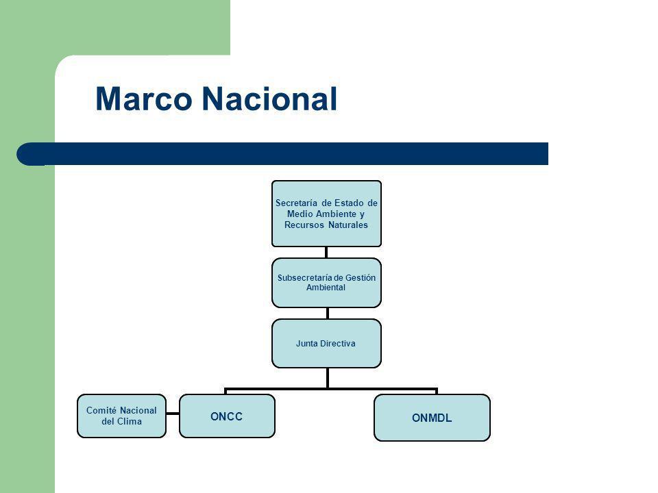 Secretaría de Estado de Medio Ambiente y Recursos Naturales Subsecretaría de Gestión Ambiental Junta Directiva ONCC ONMDL Comité Nacional del Clima Marco Nacional
