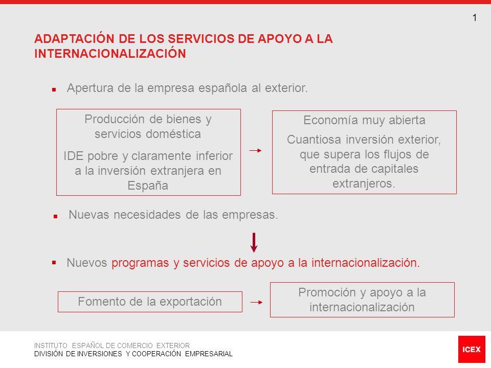 ACTUACIÓN EN MATERIA DE PROMOCIÓN DE LA INVERSIÓN EN EL EXTERIOR 2 La promoción y apoyo a la inversión española en el exterior ha pasado a ser un área estratégica de ICEX.