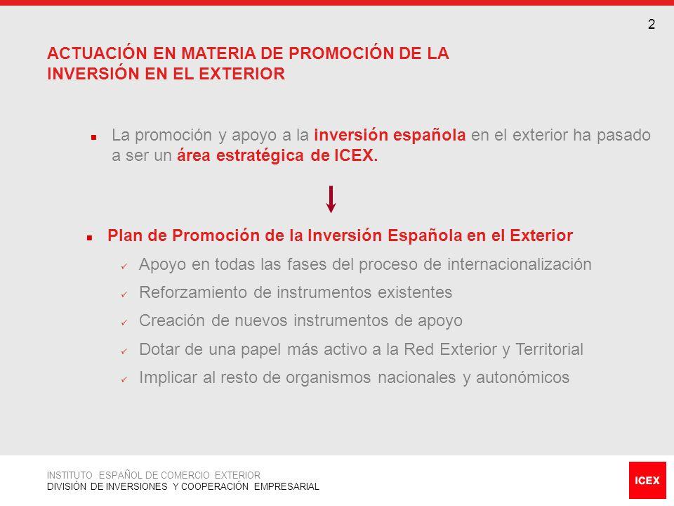 3 Realización de Informes y Estudios relativos al proceso de implantación de las empresas en el exterior Difusión de proyectos y oportunidades de inversión Información de Inversiones INSTITUTO ESPAÑOL DE COMERCIO EXTERIOR DIVISIÓN DE INVERSIONES Y COOPERACIÓN EMPRESARIAL SERVICIOS DE LA DIVISIÓN DE INVERSIONES Y COOPERACIÓN EMPRESARIAL (I) Organización y desarrollo de Foros de Inversiones y Cooperación Empresarial y Misiones de Inversores Organización y desarrollo de Jornadas de Inversiones Organización y desarrollo de Encuentros Empresariales Desarrollo, tramitación y seguimiento de proyectos financiados por la UE (AL-Invest, ASIA -Invest, PRO-Invest) PIDINVER Promoción de Inversiones