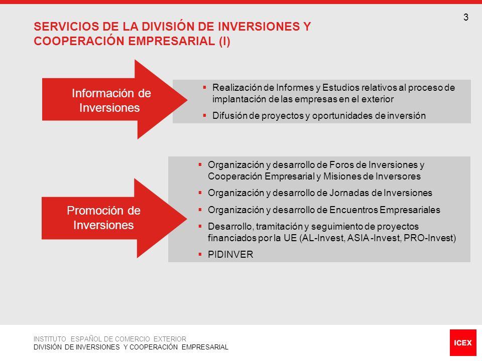 4 INSTITUTO ESPAÑOL DE COMERCIO EXTERIOR DIVISIÓN DE INVERSIONES Y COOPERACIÓN EMPRESARIAL SERVICIOS DE LA DIVISIÓN DE INVERSIONES Y COOPERACIÓN EMPRESARIAL (II) Apoyo a Proyectos de Inversión Programa de Prospección de Inversiones en el Exterior (PROSPINVER) Programa de Apoyo a Proyectos de Inversión (PAPI)