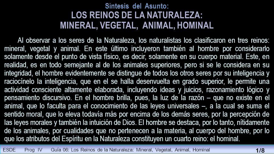 Síntesis del Asunto: LOS REINOS DE LA NATURALEZA: MINERAL, VEGETAL, ANIMAL, HOMINAL Al observar a los seres de la Naturaleza, los naturalistas los cla