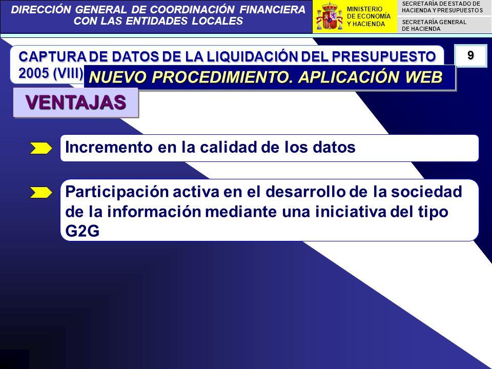 DIRECCIÓN GENERAL DE COORDINACIÓN FINANCIERA CON LAS ENTIDADES LOCALES SECRETARÍA DE ESTADO DE HACIENDA Y PRESUPUESTOS SECRETARÍA GENERAL DE HACIENDA MINISTERIO DE ECONOMÍA Y HACIENDA CAPTURA DE DATOS DE LA LIQUIDACIÓN DEL PRESUPUESTO 2005 (VIII) 9 NUEVO PROCEDIMIENTO.