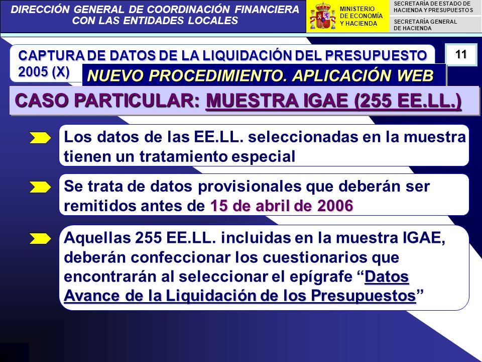 DIRECCIÓN GENERAL DE COORDINACIÓN FINANCIERA CON LAS ENTIDADES LOCALES SECRETARÍA DE ESTADO DE HACIENDA Y PRESUPUESTOS SECRETARÍA GENERAL DE HACIENDA MINISTERIO DE ECONOMÍA Y HACIENDA CAPTURA DE DATOS DE LA LIQUIDACIÓN DEL PRESUPUESTO 2005 (X) 11 NUEVO PROCEDIMIENTO.