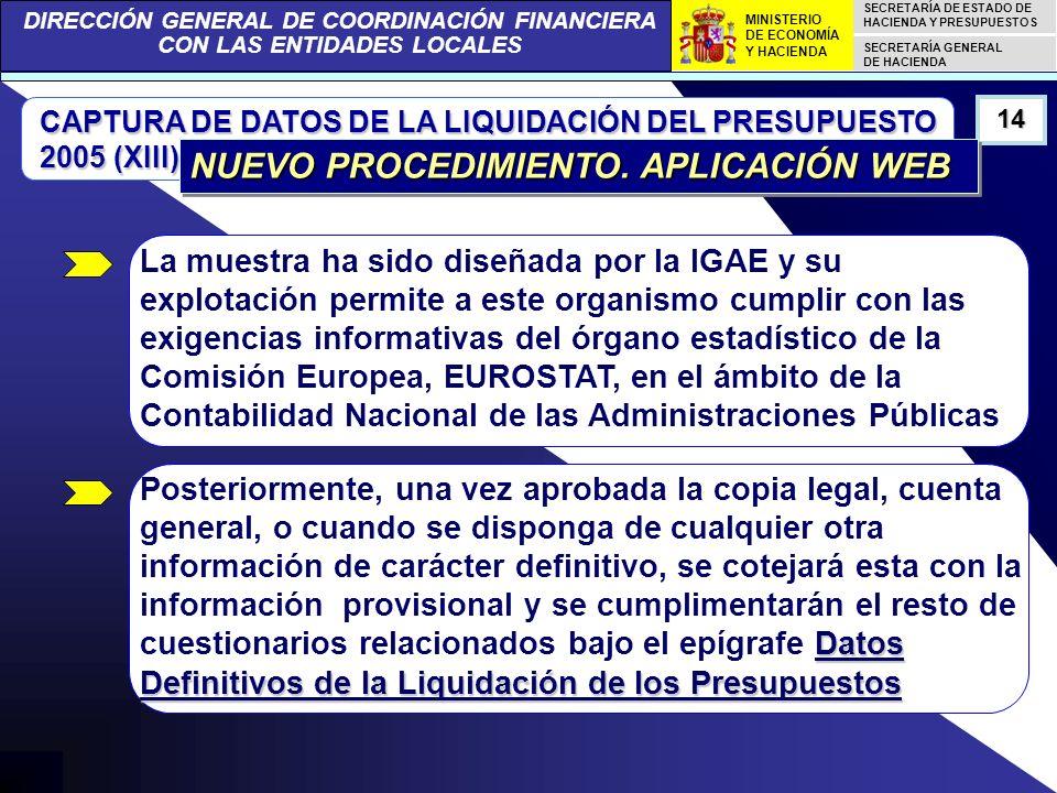 DIRECCIÓN GENERAL DE COORDINACIÓN FINANCIERA CON LAS ENTIDADES LOCALES SECRETARÍA DE ESTADO DE HACIENDA Y PRESUPUESTOS SECRETARÍA GENERAL DE HACIENDA MINISTERIO DE ECONOMÍA Y HACIENDA CAPTURA DE DATOS DE LA LIQUIDACIÓN DEL PRESUPUESTO 2005 (XIII) 14 NUEVO PROCEDIMIENTO.