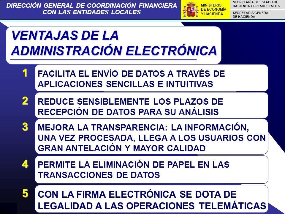 DIRECCIÓN GENERAL DE COORDINACIÓN FINANCIERA CON LAS ENTIDADES LOCALES SECRETARÍA DE ESTADO DE HACIENDA Y PRESUPUESTOS SECRETARÍA GENERAL DE HACIENDA MINISTERIO DE ECONOMÍA Y HACIENDA VENTAJAS DE LA ADMINISTRACIÓN ELECTRÓNICA FACILITA EL ENVÍO DE DATOS A TRAVÉS DE APLICACIONES SENCILLAS E INTUITIVAS 1 REDUCE SENSIBLEMENTE LOS PLAZOS DE RECEPCIÓN DE DATOS PARA SU ANÁLISIS 2 MEJORA LA TRANSPARENCIA: LA INFORMACIÓN, UNA VEZ PROCESADA, LLEGA A LOS USUARIOS CON GRAN ANTELACIÓN Y MAYOR CALIDAD 3 PERMITE LA ELIMINACIÓN DE PAPEL EN LAS TRANSACCIONES DE DATOS 4 CON LA FIRMA ELECTRÓNICA SE DOTA DE LEGALIDAD A LAS OPERACIONES TELEMÁTICAS 5