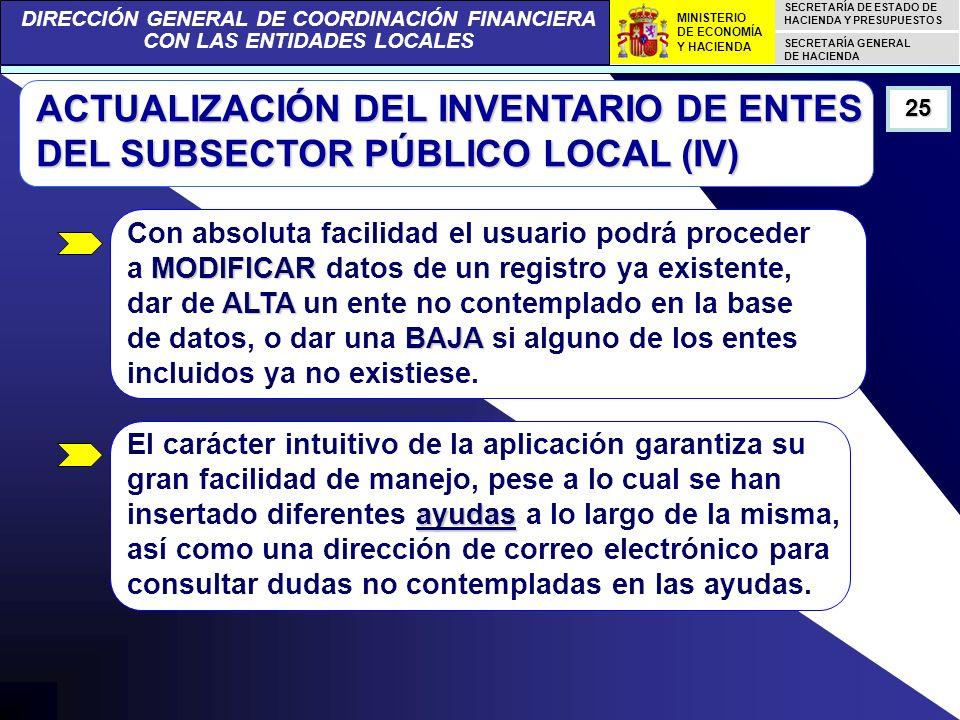 DIRECCIÓN GENERAL DE COORDINACIÓN FINANCIERA CON LAS ENTIDADES LOCALES SECRETARÍA DE ESTADO DE HACIENDA Y PRESUPUESTOS SECRETARÍA GENERAL DE HACIENDA MINISTERIO DE ECONOMÍA Y HACIENDA ACTUALIZACIÓN DEL INVENTARIO DE ENTES DEL SUBSECTOR PÚBLICO LOCAL (IV) 25 MODIFICAR ALTA BAJA Con absoluta facilidad el usuario podrá proceder a MODIFICAR datos de un registro ya existente, dar de ALTA un ente no contemplado en la base de datos, o dar una BAJA si alguno de los entes incluidos ya no existiese.