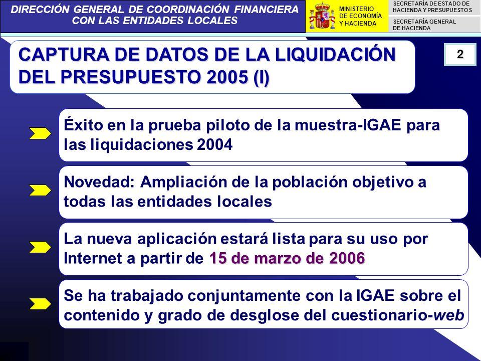 DIRECCIÓN GENERAL DE COORDINACIÓN FINANCIERA CON LAS ENTIDADES LOCALES SECRETARÍA DE ESTADO DE HACIENDA Y PRESUPUESTOS SECRETARÍA GENERAL DE HACIENDA MINISTERIO DE ECONOMÍA Y HACIENDA CAPTURA DE DATOS DE LA LIQUIDACIÓN DEL PRESUPUESTO 2005 (I) Éxito en la prueba piloto de la muestra-IGAE para las liquidaciones 2004 Novedad: Ampliación de la población objetivo a todas las entidades locales 15 de marzo de 2006 La nueva aplicación estará lista para su uso por Internet a partir de 15 de marzo de 2006 Se ha trabajado conjuntamente con la IGAE sobre el contenido y grado de desglose del cuestionario-web 2