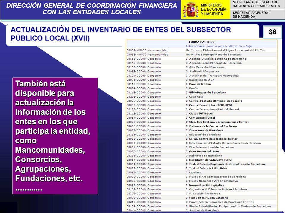 DIRECCIÓN GENERAL DE COORDINACIÓN FINANCIERA CON LAS ENTIDADES LOCALES SECRETARÍA DE ESTADO DE HACIENDA Y PRESUPUESTOS SECRETARÍA GENERAL DE HACIENDA MINISTERIO DE ECONOMÍA Y HACIENDA ACTUALIZACIÓN DEL INVENTARIO DE ENTES DEL SUBSECTOR PÚBLICO LOCAL (XVII) También está disponible para actualización la información de los entes en los que participa la entidad, como Mancomunidades, Consorcios, Agrupaciones, Fundaciones, etc.............
