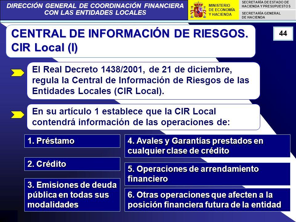 DIRECCIÓN GENERAL DE COORDINACIÓN FINANCIERA CON LAS ENTIDADES LOCALES SECRETARÍA DE ESTADO DE HACIENDA Y PRESUPUESTOS SECRETARÍA GENERAL DE HACIENDA MINISTERIO DE ECONOMÍA Y HACIENDA 44 CENTRAL DE INFORMACIÓN DE RIESGOS.