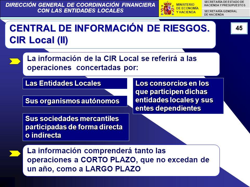 DIRECCIÓN GENERAL DE COORDINACIÓN FINANCIERA CON LAS ENTIDADES LOCALES SECRETARÍA DE ESTADO DE HACIENDA Y PRESUPUESTOS SECRETARÍA GENERAL DE HACIENDA MINISTERIO DE ECONOMÍA Y HACIENDA 45 CENTRAL DE INFORMACIÓN DE RIESGOS.