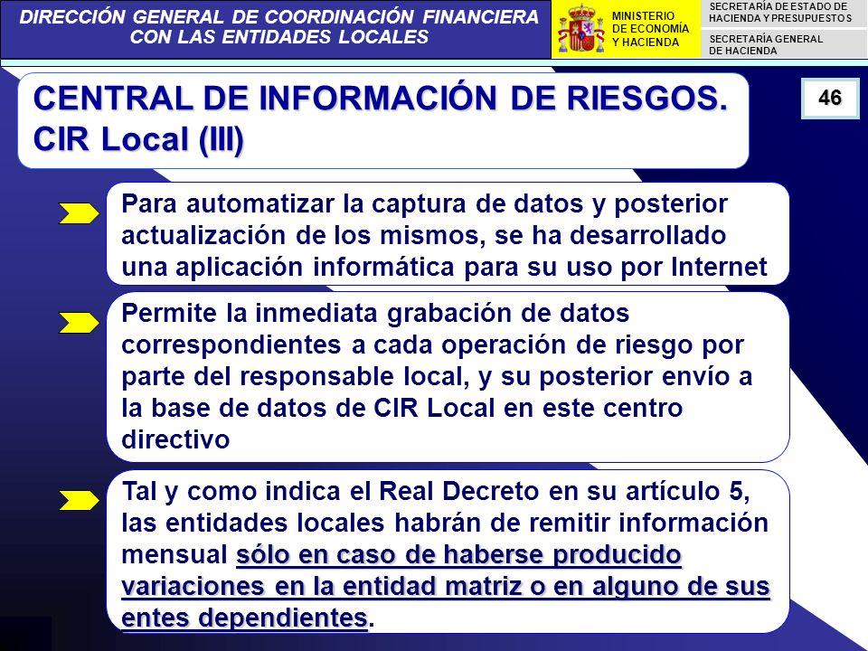DIRECCIÓN GENERAL DE COORDINACIÓN FINANCIERA CON LAS ENTIDADES LOCALES SECRETARÍA DE ESTADO DE HACIENDA Y PRESUPUESTOS SECRETARÍA GENERAL DE HACIENDA MINISTERIO DE ECONOMÍA Y HACIENDA 46 CENTRAL DE INFORMACIÓN DE RIESGOS.