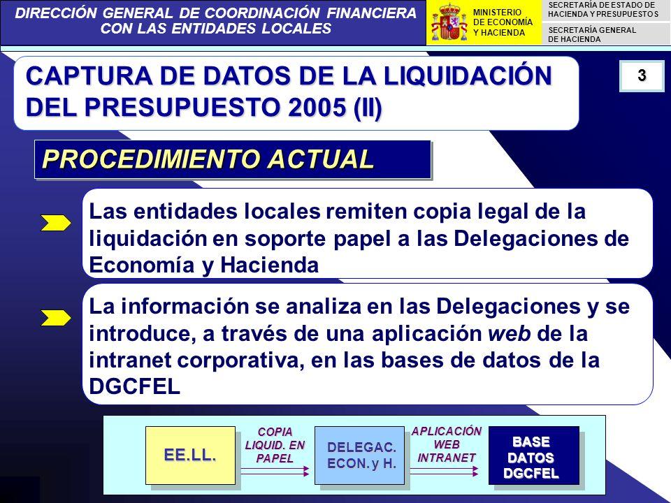 DIRECCIÓN GENERAL DE COORDINACIÓN FINANCIERA CON LAS ENTIDADES LOCALES SECRETARÍA DE ESTADO DE HACIENDA Y PRESUPUESTOS SECRETARÍA GENERAL DE HACIENDA MINISTERIO DE ECONOMÍA Y HACIENDA CAPTURA DE DATOS DE LA LIQUIDACIÓN DEL PRESUPUESTO 2005 (III) Heterogeneidad de formatos y contenidos de las copias de las liquidaciones recibidas 4 PROCEDIMIENTO ACTUAL.