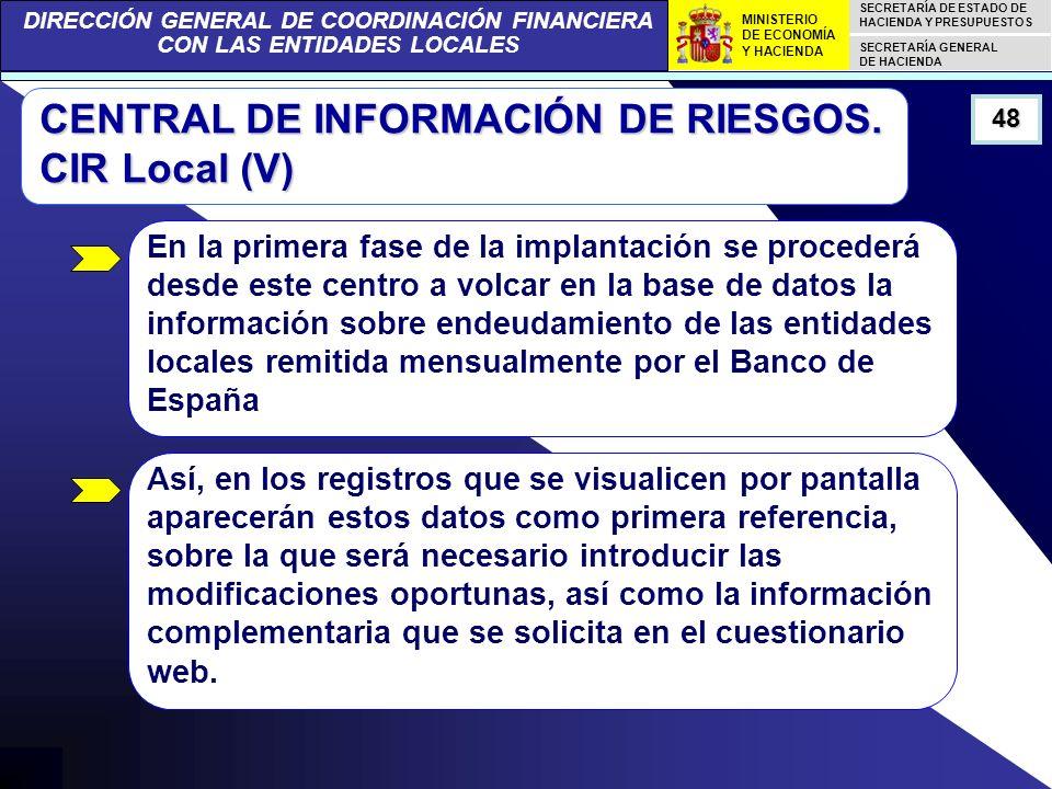 DIRECCIÓN GENERAL DE COORDINACIÓN FINANCIERA CON LAS ENTIDADES LOCALES SECRETARÍA DE ESTADO DE HACIENDA Y PRESUPUESTOS SECRETARÍA GENERAL DE HACIENDA MINISTERIO DE ECONOMÍA Y HACIENDA 48 CENTRAL DE INFORMACIÓN DE RIESGOS.
