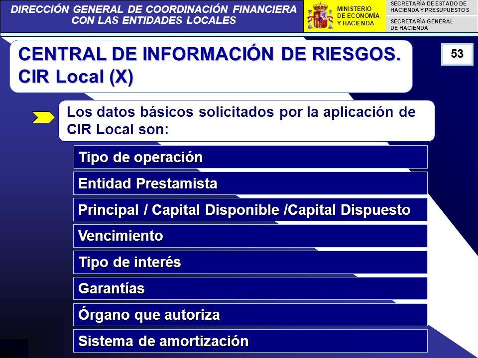 DIRECCIÓN GENERAL DE COORDINACIÓN FINANCIERA CON LAS ENTIDADES LOCALES SECRETARÍA DE ESTADO DE HACIENDA Y PRESUPUESTOS SECRETARÍA GENERAL DE HACIENDA MINISTERIO DE ECONOMÍA Y HACIENDA 53 CENTRAL DE INFORMACIÓN DE RIESGOS.
