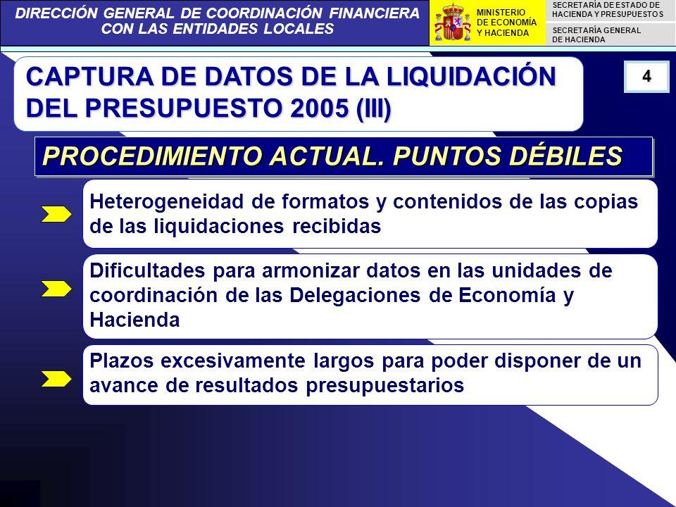 DIRECCIÓN GENERAL DE COORDINACIÓN FINANCIERA CON LAS ENTIDADES LOCALES SECRETARÍA DE ESTADO DE HACIENDA Y PRESUPUESTOS SECRETARÍA GENERAL DE HACIENDA MINISTERIO DE ECONOMÍA Y HACIENDA CAPTURA DE DATOS DE LA LIQUIDACIÓN DEL PRESUPUESTO 2005 (XIV) 15 NUEVO PROCEDIMIENTO.