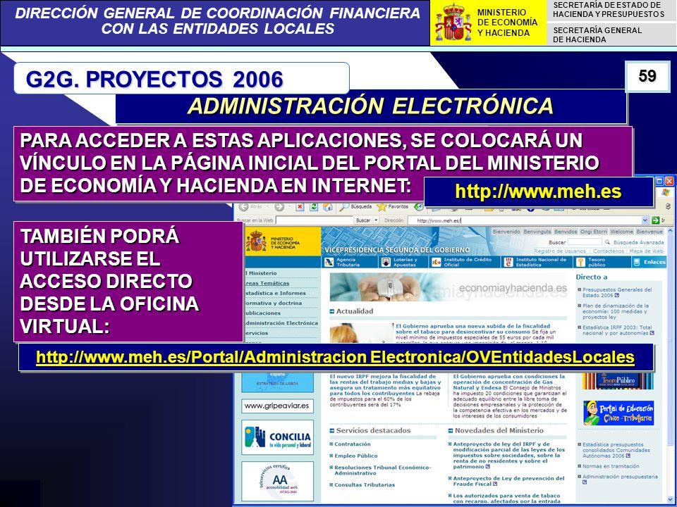 DIRECCIÓN GENERAL DE COORDINACIÓN FINANCIERA CON LAS ENTIDADES LOCALES SECRETARÍA DE ESTADO DE HACIENDA Y PRESUPUESTOS SECRETARÍA GENERAL DE HACIENDA MINISTERIO DE ECONOMÍA Y HACIENDA ADMINISTRACIÓN ELECTRÓNICA G2G.