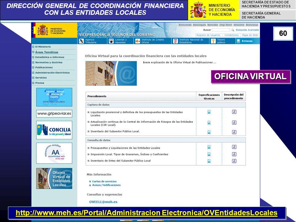DIRECCIÓN GENERAL DE COORDINACIÓN FINANCIERA CON LAS ENTIDADES LOCALES SECRETARÍA DE ESTADO DE HACIENDA Y PRESUPUESTOS SECRETARÍA GENERAL DE HACIENDA MINISTERIO DE ECONOMÍA Y HACIENDA 60 http://www.meh.es/Portal/Administracion Electronica/OVEntidadesLocales OFICINA VIRTUAL