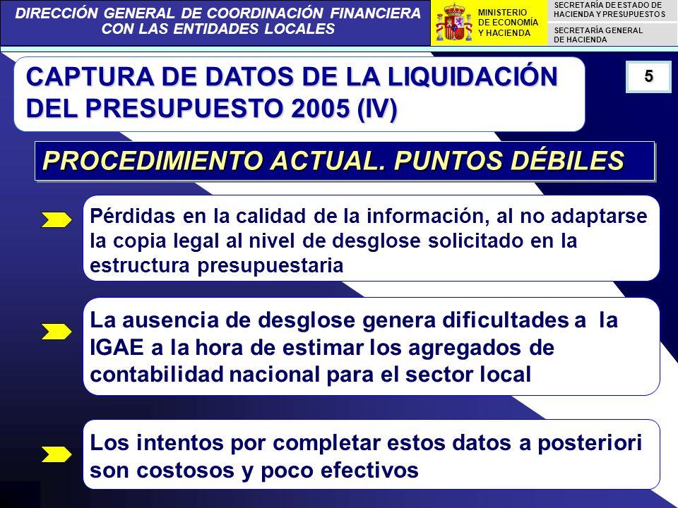 DIRECCIÓN GENERAL DE COORDINACIÓN FINANCIERA CON LAS ENTIDADES LOCALES SECRETARÍA DE ESTADO DE HACIENDA Y PRESUPUESTOS SECRETARÍA GENERAL DE HACIENDA MINISTERIO DE ECONOMÍA Y HACIENDA CAPTURA DE DATOS DE LA LIQUIDACIÓN DEL PRESUPUESTO 2005 (IV) La ausencia de desglose genera dificultades a la IGAE a la hora de estimar los agregados de contabilidad nacional para el sector local 5 PROCEDIMIENTO ACTUAL.