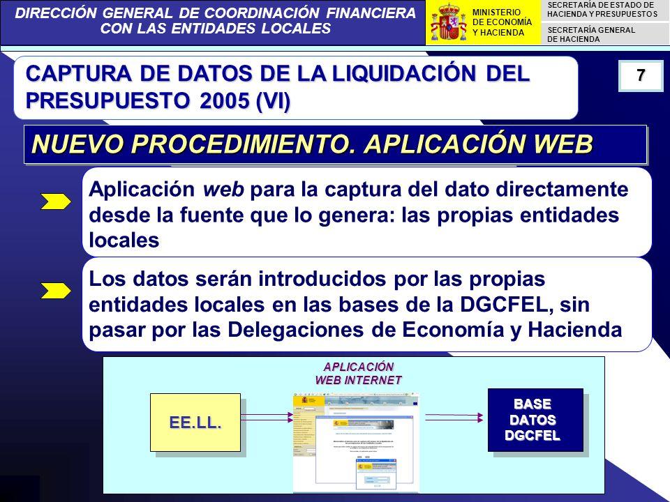 DIRECCIÓN GENERAL DE COORDINACIÓN FINANCIERA CON LAS ENTIDADES LOCALES SECRETARÍA DE ESTADO DE HACIENDA Y PRESUPUESTOS SECRETARÍA GENERAL DE HACIENDA MINISTERIO DE ECONOMÍA Y HACIENDA CAPTURA DE DATOS DE LA LIQUIDACIÓN DEL PRESUPUESTO 2005 (VII) El cuestionario web constituye un soporte homogéneo 8 NUEVO PROCEDIMIENTO.