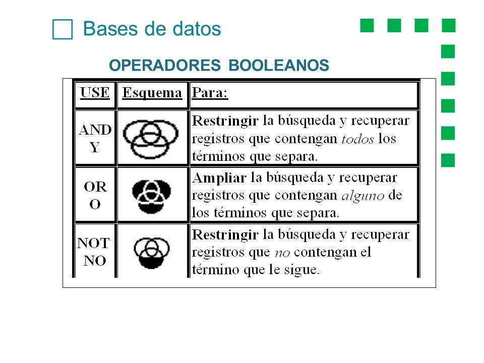Bases de datos OPERADORES BOOLEANOS