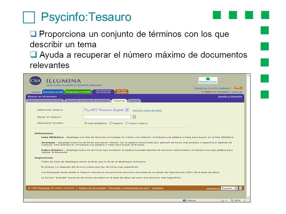 Psycinfo:Tesauro Proporciona un conjunto de términos con los que describir un tema Ayuda a recuperar el número máximo de documentos relevantes