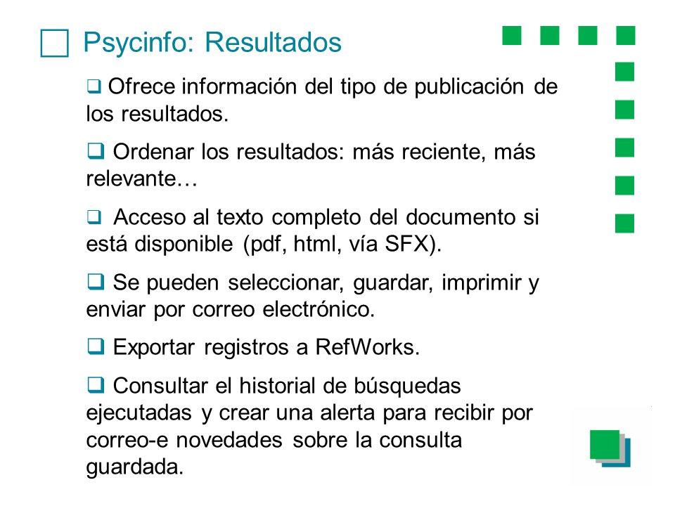 Psycinfo: Resultados Ofrece información del tipo de publicación de los resultados. Ordenar los resultados: más reciente, más relevante… Acceso al text