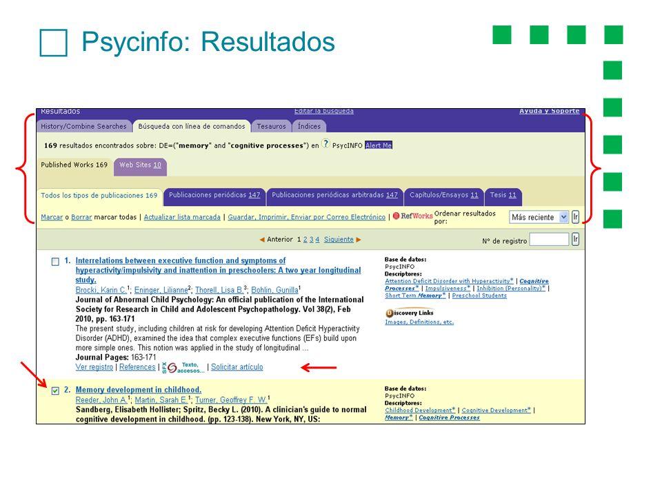 Psycinfo: Resultados