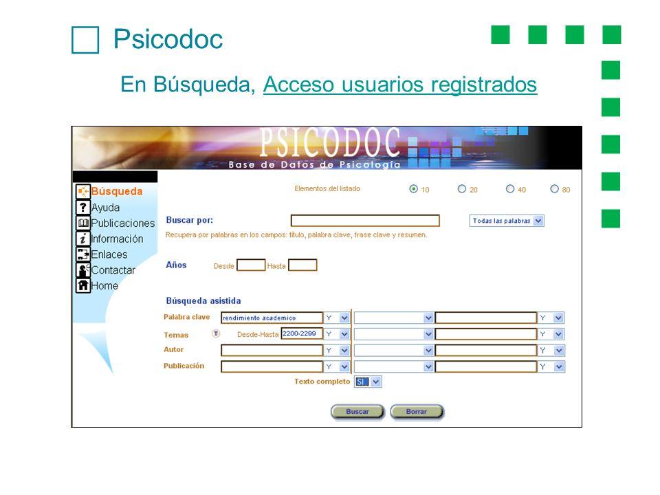 Psicodoc En Búsqueda, Acceso usuarios registradosAcceso usuarios registrados