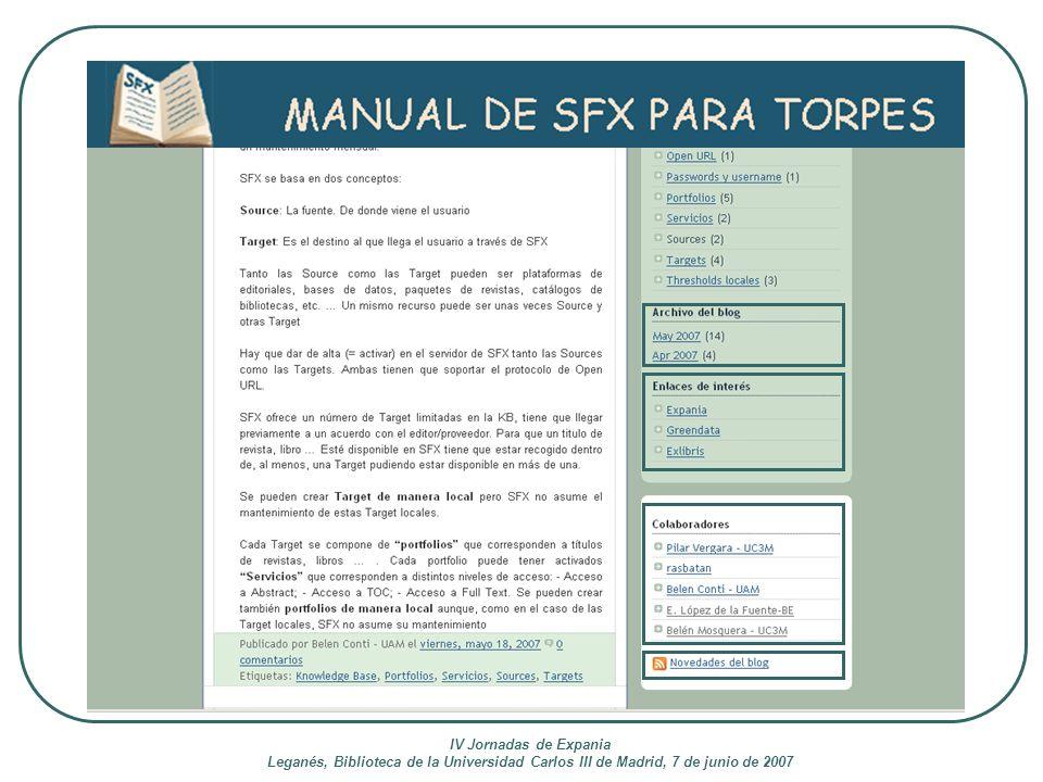 IV Jornadas de Expania Leganés, Biblioteca de la Universidad Carlos III de Madrid, 7 de junio de 2007