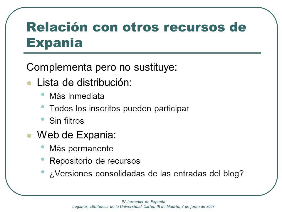 IV Jornadas de Expania Leganés, Biblioteca de la Universidad Carlos III de Madrid, 7 de junio de 2007 Relación con otros recursos de Expania Complemen