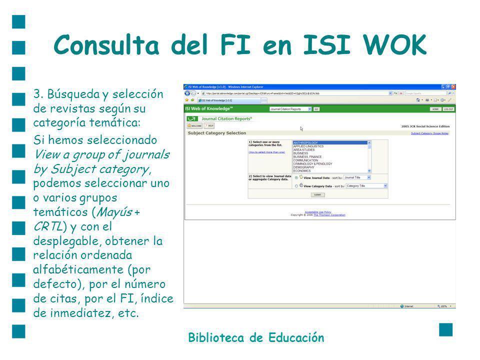 Consulta del FI en ISI WOK 3.