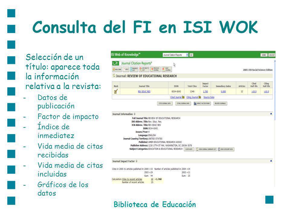 Consulta del FI en ISI WOK Selección de un título: aparece toda la información relativa a la revista: -Datos de publicación -Factor de impacto -Índice de inmediatez -Vida media de citas recibidas -Vida media de citas incluidas -Gráficos de los datos Biblioteca de Educación