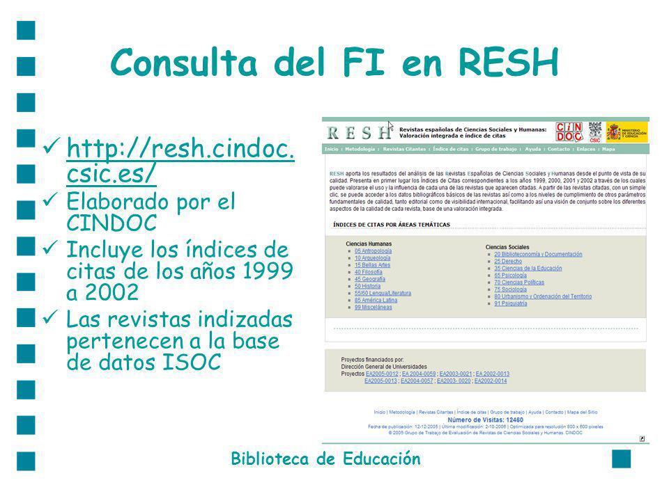 Consulta del FI en RESH http://resh.cindoc. csic.es/ http://resh.cindoc. csic.es/ Elaborado por el CINDOC Incluye los índices de citas de los años 199