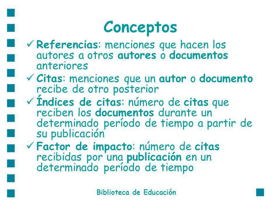 Conceptos Referencias: menciones que hacen los autores a otros autores o documentos anteriores Citas: menciones que un autor o documento recibe de otr