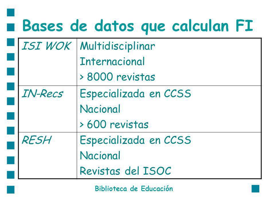 Bases de datos que calculan FI Biblioteca de Educación ISI WOKMultidisciplinar Internacional > 8000 revistas IN-RecsEspecializada en CCSS Nacional > 600 revistas RESHEspecializada en CCSS Nacional Revistas del ISOC