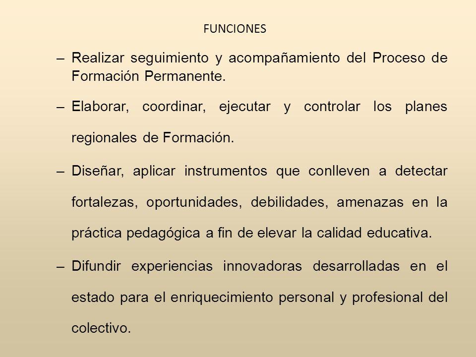 FUNCIONES –Realizar seguimiento y acompañamiento del Proceso de Formación Permanente.