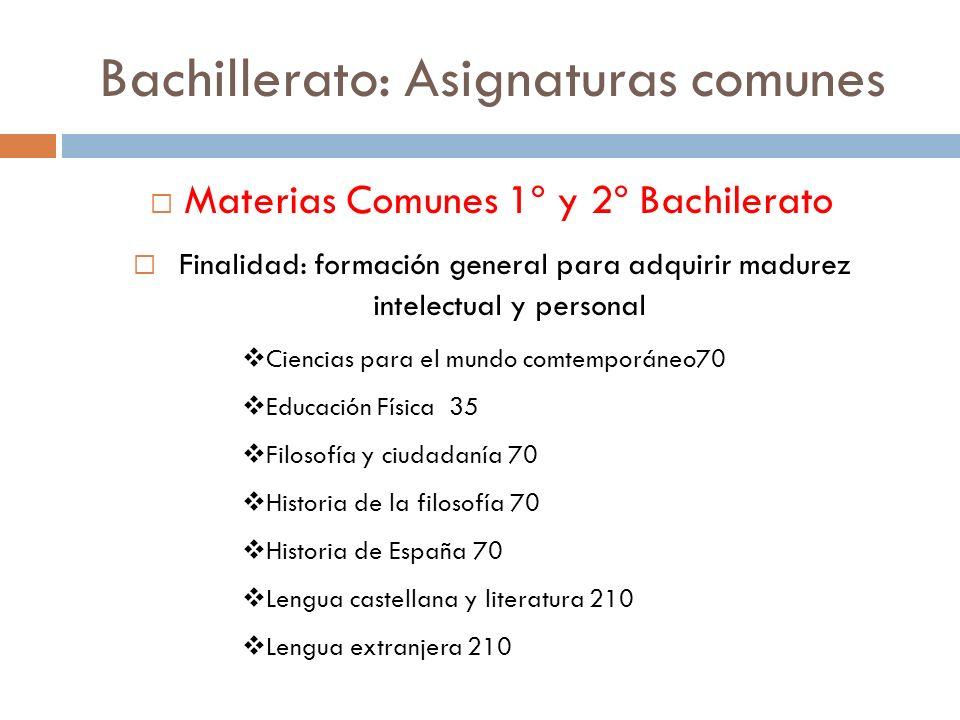 Bachillerato: Asignaturas comunes Materias Comunes 1º y 2º Bachilerato Finalidad: formación general para adquirir madurez intelectual y personal Cienc