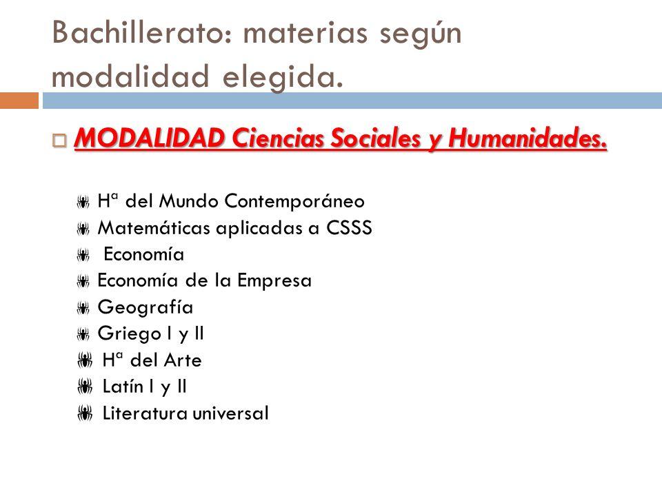 Bachillerato: materias según modalidad elegida. MODALIDAD Ciencias Sociales y Humanidades. MODALIDAD Ciencias Sociales y Humanidades. Hª del Mundo Con