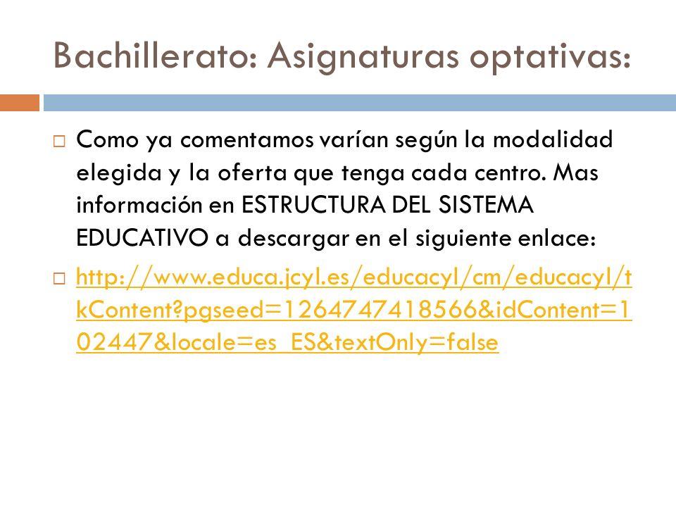 Bachillerato: Asignaturas optativas: Como ya comentamos varían según la modalidad elegida y la oferta que tenga cada centro.