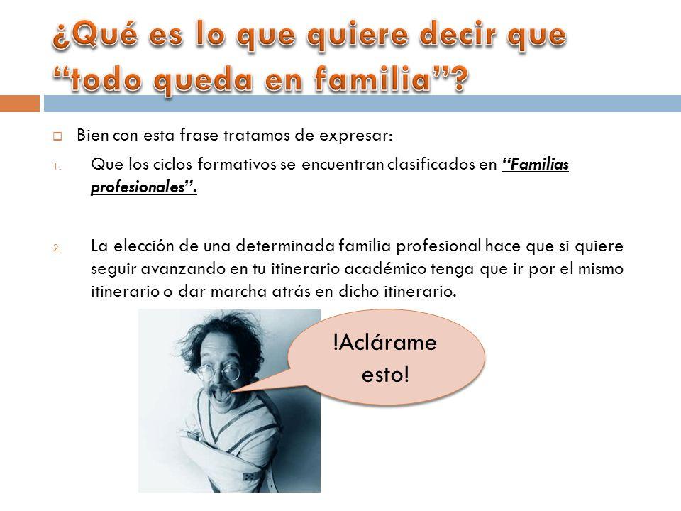 Bien con esta frase tratamos de expresar: 1. Que los ciclos formativos se encuentran clasificados en Familias profesionales. 2. La elección de una det