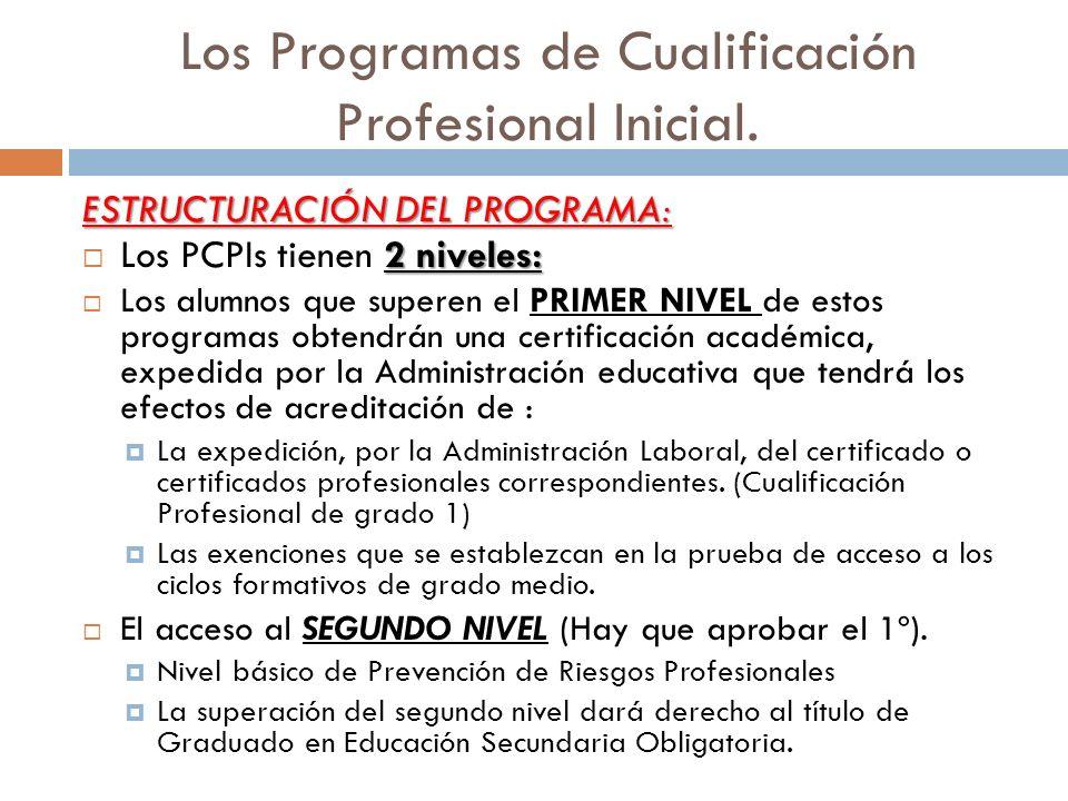 Los Programas de Cualificación Profesional Inicial. ESTRUCTURACIÓN DEL PROGRAMA: 2 niveles: Los PCPIs tienen 2 niveles: Los alumnos que superen el PRI