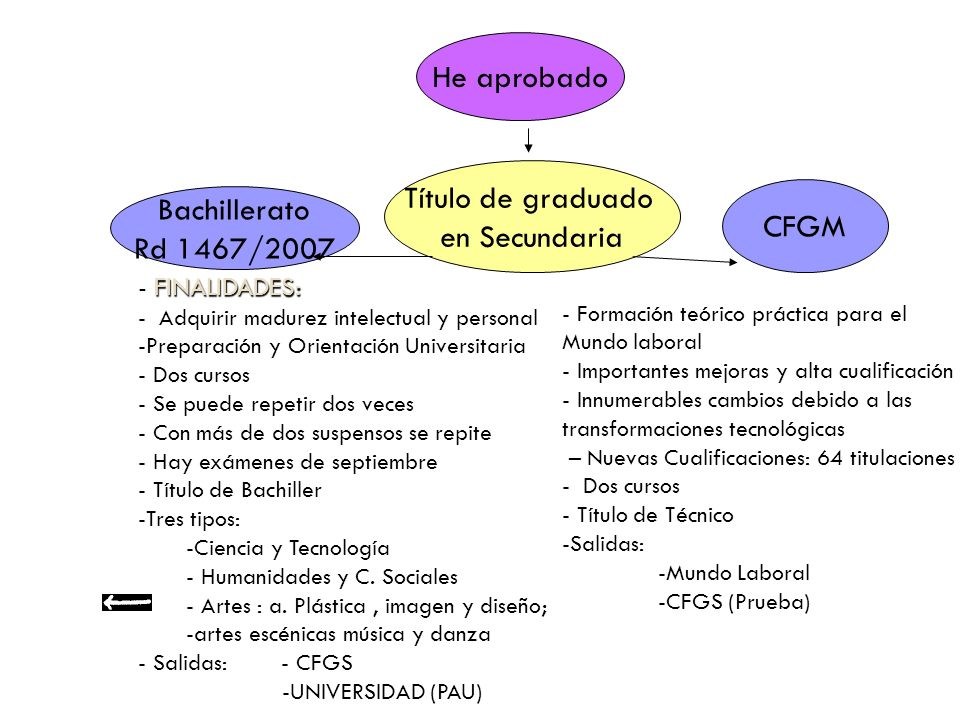 He aprobado Título de graduado en Secundaria Bachillerato Rd 1467/2007 CFGM FINALIDADES: - FINALIDADES: - Adquirir madurez intelectual y personal -Preparación y Orientación Universitaria - Dos cursos - Se puede repetir dos veces - Con más de dos suspensos se repite - Hay exámenes de septiembre - Título de Bachiller -Tres tipos: -Ciencia y Tecnología - Humanidades y C.