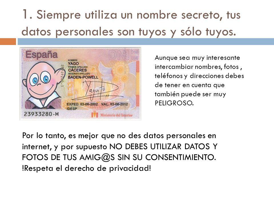 1. Siempre utiliza un nombre secreto, tus datos personales son tuyos y sólo tuyos. Aunque sea muy interesante intercambiar nombres, fotos, teléfonos y