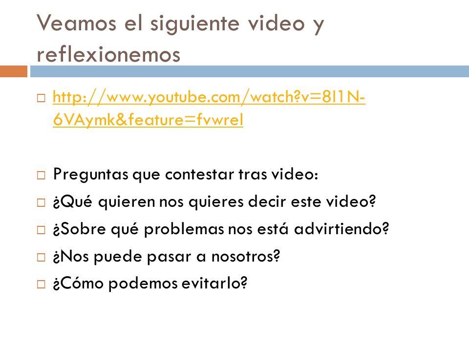 Veamos el siguiente video y reflexionemos http://www.youtube.com/watch?v=8I1N- 6VAymk&feature=fvwrel http://www.youtube.com/watch?v=8I1N- 6VAymk&featu