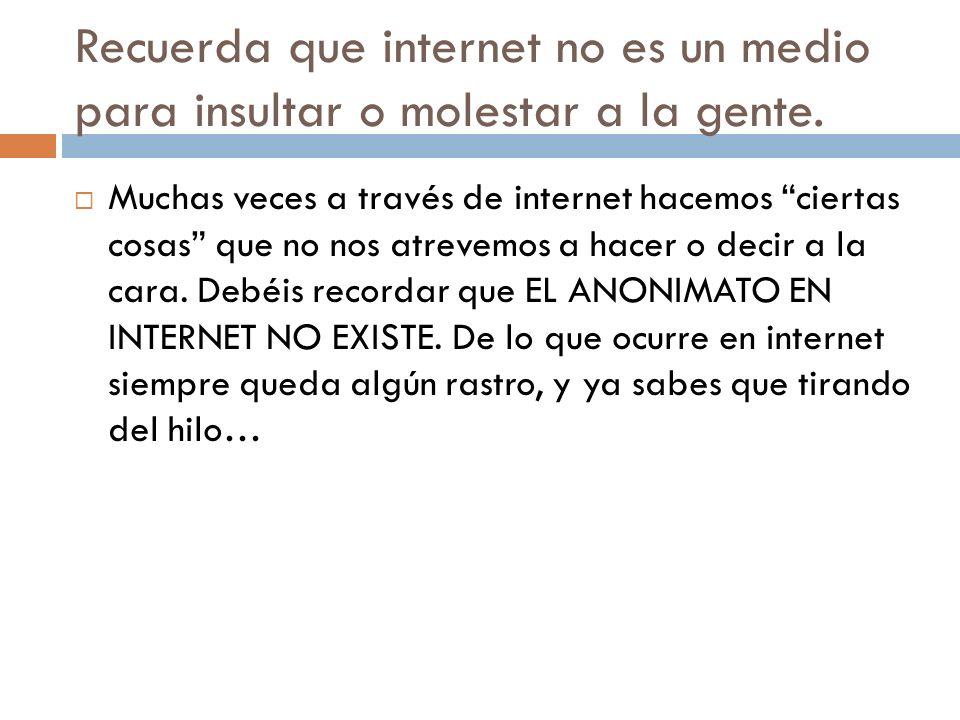 Recuerda que internet no es un medio para insultar o molestar a la gente. Muchas veces a través de internet hacemos ciertas cosas que no nos atrevemos