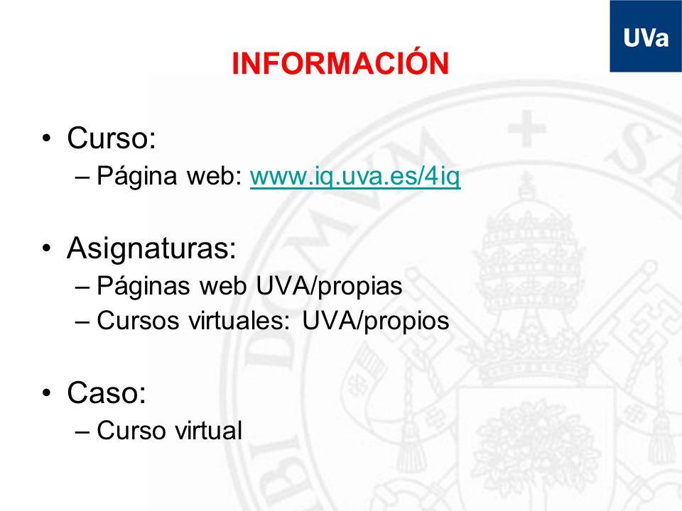 INFORMACIÓN Curso: –Página web: www.iq.uva.es/4iqwww.iq.uva.es/4iq Asignaturas: –Páginas web UVA/propias –Cursos virtuales: UVA/propios Caso: –Curso v