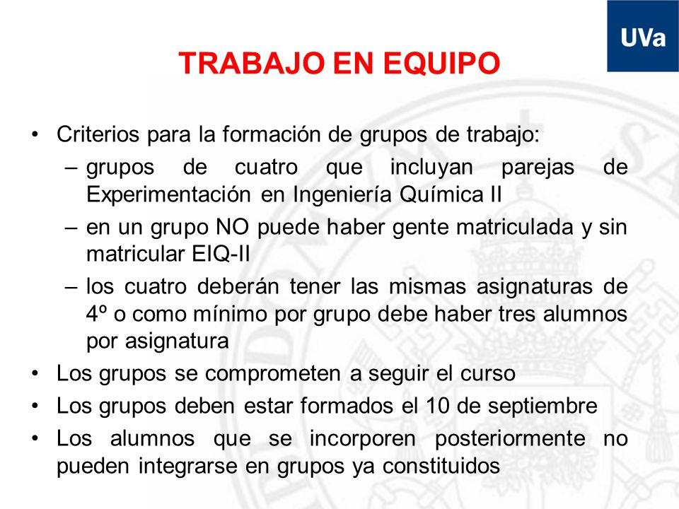 TRABAJO EN EQUIPO Criterios para la formación de grupos de trabajo: –grupos de cuatro que incluyan parejas de Experimentación en Ingeniería Química II