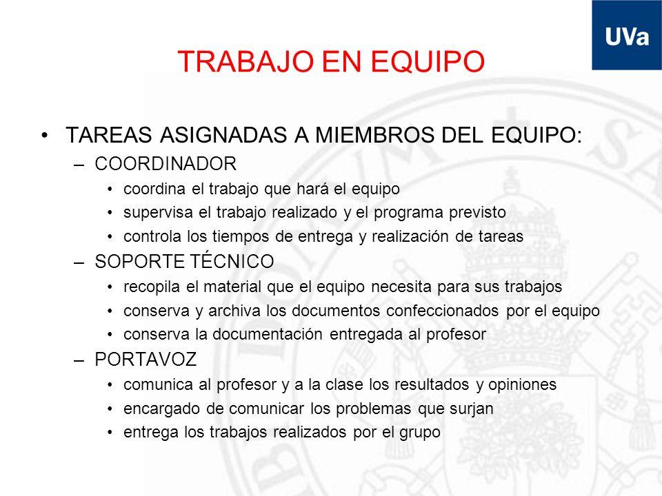 TRABAJO EN EQUIPO TAREAS ASIGNADAS A MIEMBROS DEL EQUIPO: –COORDINADOR coordina el trabajo que hará el equipo supervisa el trabajo realizado y el prog