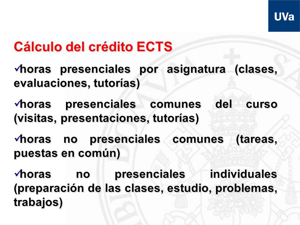 Cálculo del crédito ECTS horas presenciales por asignatura (clases, evaluaciones, tutorías) horas presenciales comunes del curso (visitas, presentacio