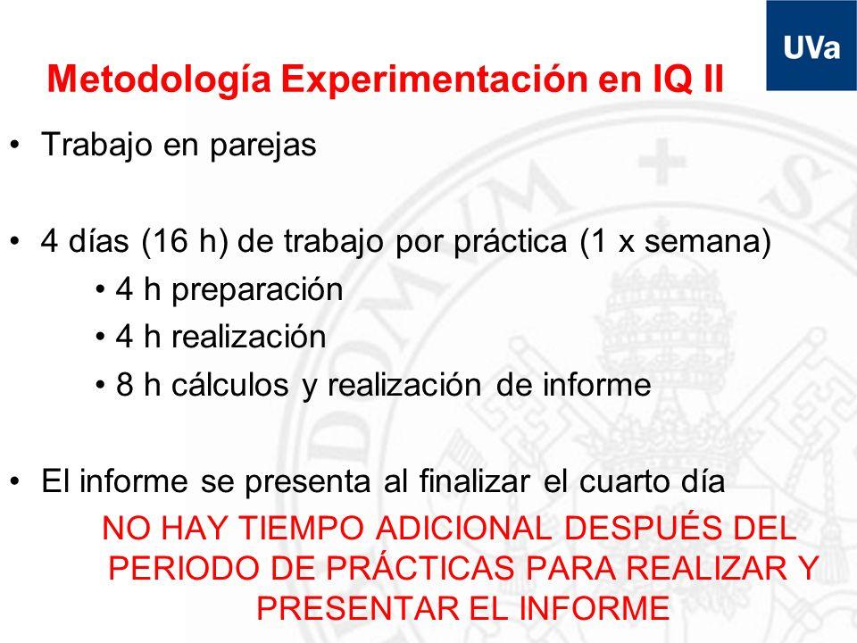 Metodología Experimentación en IQ II Trabajo en parejas 4 días (16 h) de trabajo por práctica (1 x semana) 4 h preparación 4 h realización 8 h cálculo